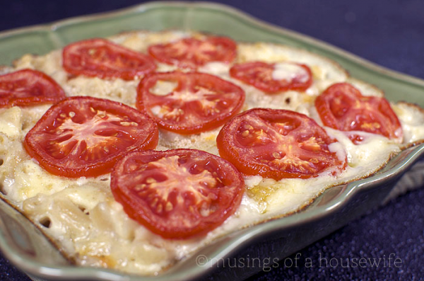 This is a recipe for gluten-free mac and cheese. I love the tomatoes ...